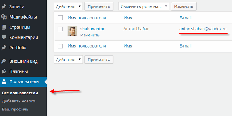 Wordpress почта
